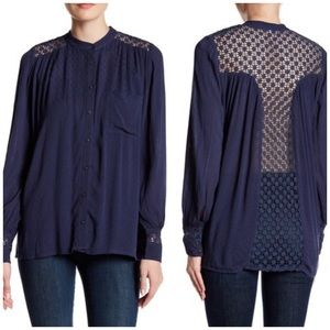 Free People Navy The Best Button Front Blouse XS